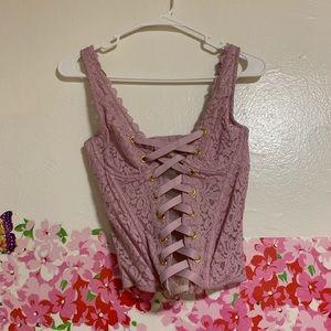 1b7c10b378a Victoria s Secret Intimates   Sleepwear - VICTORIA SECRET FLORAL LACE  CORSET BODYSUIT NWT